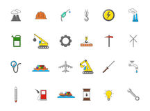 Industry colorful  icons set. Set of 24 Industry colorful  icons Royalty Free Stock Image