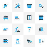 Industry Colorful Icons Set. Collection Of Building, Paint, Case And Other Elements. Also Includes Symbols Such As Stock Photography