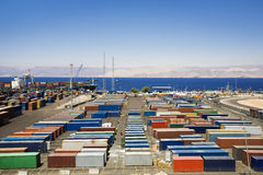 Industry and commerce. Panoramic view of containers  in a harbour Royalty Free Stock Images