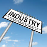 Industry concept. Illustration depicting a roadsign with an industry concept. Blue sky background stock illustration