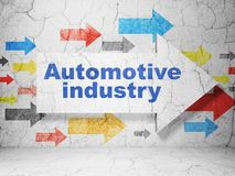 Industry concept: arrow with Automotive Industry on grunge wall background. Industry concept: arrow with Automotive Industry on grunge textured concrete wall vector illustration