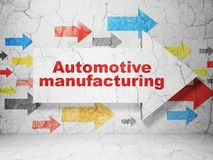 Industry concept: arrow with Automotive Manufacturing on grunge wall background Stock Photos