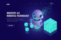 Industry 4.0 concept, big data isometric robotics technology, automating the process with a robot, organize and sort. Data, 3d vector dark background vector illustration