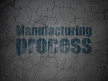 Industry concept: Manufacturing Process on grunge wall background. Industry concept: Blue Manufacturing Process on grunge textured concrete wall background stock illustration
