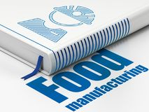 Industry concept: book Factory Worker, Food Manufacturing on white background. Industry concept: closed book with Blue Factory Worker icon and text Food Stock Photos