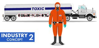 Industry concept. Detailed illustration of cistern truck carrying chemical, radioactive, toxic, hazardous substances and worker in. Detailed illustration of Stock Image