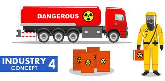 Industry concept. Detailed illustration of cistern truck carrying chemical, radioactive, toxic, hazardous substances and. Detailed illustration of cistern truck Royalty Free Stock Photos