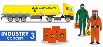 Industry concept. Detailed illustration of cistern truck carrying chemical, radioactive Royalty Free Stock Images