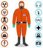 Industry concept. Detailed illustration of worker in orange protective suit. Safety and health vector icons. Set of. Man in orange protective suit in flat style Stock Images