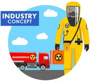 Industry concept. Detailed illustration of worker in protective suit on background with cistern truck carrying chemical, radioacti Stock Image
