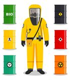 Industry concept. Detailed illustration of worker in protective suit. Metal barrels for oil, biofuel, explosive. Man in yellow protective suit in flat style stock illustration