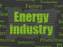 Industry concept: Energy Industry on wall background. Industry concept: Painted green text Energy Industry on Black Brick wall background with Tag Cloud royalty free illustration
