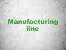 Industry concept: Manufacturing Line on wall background. Industry concept: Green Manufacturing Line on textured concrete wall background stock illustration