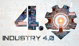 Industry 4.0 concept image. industrial instruments in the factory. With cyber and physical system icons ,Internet of things network,smart factory solution Royalty Free Stock Image