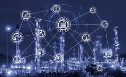 Industry 4.0 concept image. industrial instruments in the factory. With cyber and physical system icons ,Internet of things network,smart factory solution Stock Images