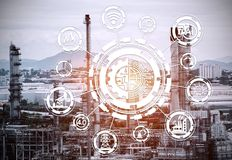 Industry 4.0 concept image. industrial instruments in the factory. With cyber and physical system icons ,Internet of things network,smart factory solution Royalty Free Stock Images