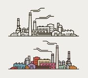 Industry concept. Industrial enterprise, factory, building icon or symbol. Royalty Free Stock Photo