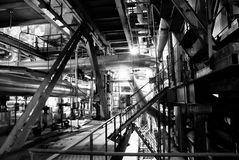 Industry concept pipes tubes bw Royalty Free Stock Images