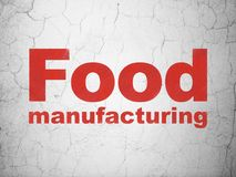 Industry concept: Food Manufacturing on wall background. Industry concept: Red Food Manufacturing on textured concrete wall background stock illustration