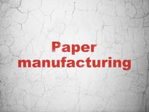 Industry concept: Paper Manufacturing on wall background. Industry concept: Red Paper Manufacturing on textured concrete wall background vector illustration