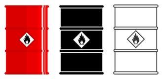 Industry concept. Set of different barrels for radioactive, toxic, hazardous, dangerous, explosive, flammable and. Different metal barrels for radioactive, toxic royalty free illustration