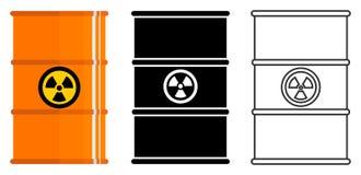 Industry concept. Set of different barrels for radioactive, toxic, hazardous, dangerous, flammable and poisonous. Different metal barrels for radioactive, toxic Stock Images