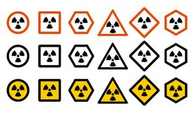 Industry concept. Set of different radiation hazard signs for your web site design, logo, app, UI. Radioactive nuclear. Symbol isolated on white background Stock Images