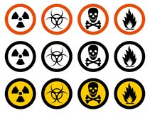 Industry concept. Set of different signs: chemical, radioactive, dangerous, toxic, poisonous, hazardous substances. Dangerous concept. Set of different signs of Royalty Free Stock Photography