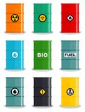 Industry concept. Set of different silhouettes barrel for liquids: water, oil, biofuel, explosive, chemical, radioactive. Industry concept. Set of different Stock Photo