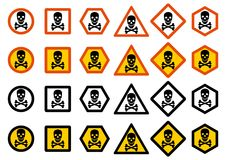 Industry concept. Set of different warning signs: chemical, radioactive, dangerous, toxic, poisonous hazard. Danger sign with skul. Dangerous concept. Set of Stock Photo