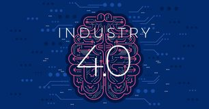 Industry 4.0 concept vector illustration. Fourth industrial revolution. Industry 4.0 concept vector illustration.Modern industrial revolution - automation and vector illustration