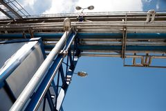 Industry construction. Silver tanks and pipelines in chemical factory Stock Photography