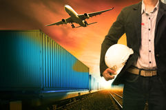 Industry container trains running on railways track  cargo plane Royalty Free Stock Photography