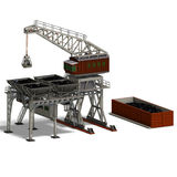 Industry crane. Rendering of an industry crane with Clipping Path and shadow over white vector illustration