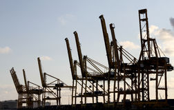 Industry cranes silhouettes Royalty Free Stock Photo