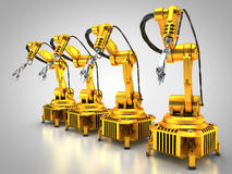 Industry 4.0. 3D rendering: Robotic arms form a line Royalty Free Stock Image