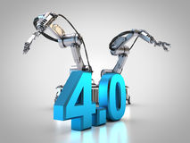 Industry 4.0. 3D rendering: two robotic arms Stock Photos