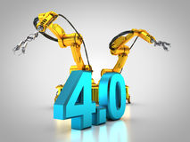 Industry 4.0. 3D rendering: two robotic arms Royalty Free Stock Photo