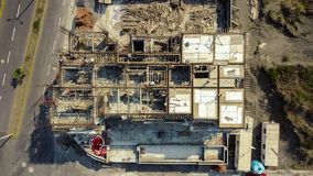 Drone photo of civil construction site. stock photo