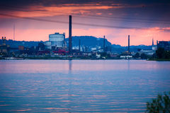 Industry at dusk by the Danube Stock Image
