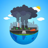 Industry earth concept. Vector illustration for global industrial. Royalty Free Stock Photography