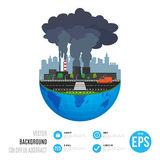 Industry earth concept. Vector illustration for global industrial. Royalty Free Stock Photo