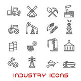 Industry and ecology thin line icons Royalty Free Stock Photo