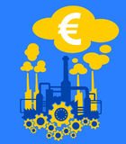 Industry and economy of European union. Factory in the colors of flag of European Union as metaphor of European industry and its financial profit in dollars stock illustration