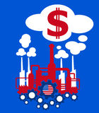 Industry and economy of United states. Factory in the colors of flag of United States as metaphor of American industry and its financial profit in dollars royalty free illustration