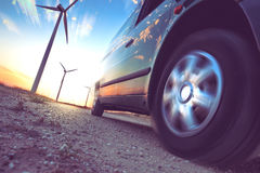 Industry of electric car and renewable energy concept Stock Images