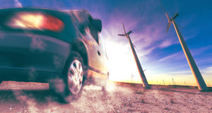 Industry of electric car and renewable energy concept Stock Image
