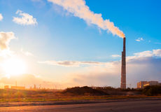 Industry electricity plant during sunset stock photos