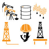 industry elements and symbol of fall and rise of oil prices Royalty Free Stock Photo