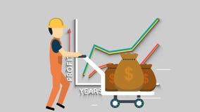Industry engineer walkcycle with dollar bag trolley